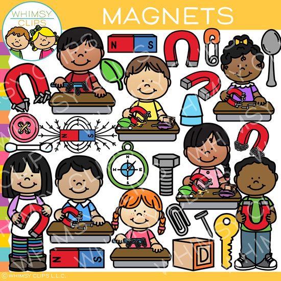 Science Kids with Magnets Clip Art