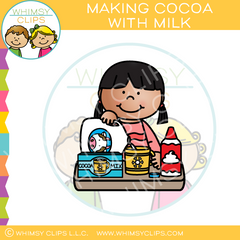 Girl Making Cocoa with Milk Clip Art
