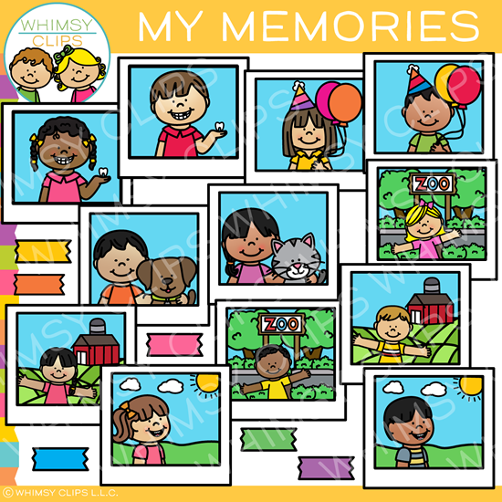 Kids Memories in Photographs Clip Art