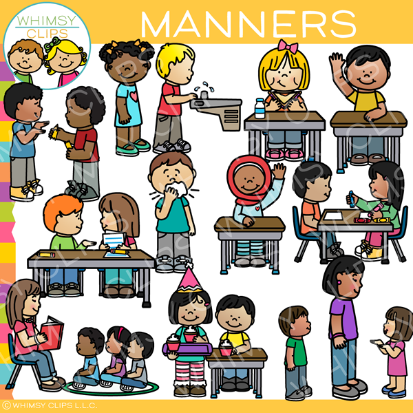 Kids with Manners Clip Art