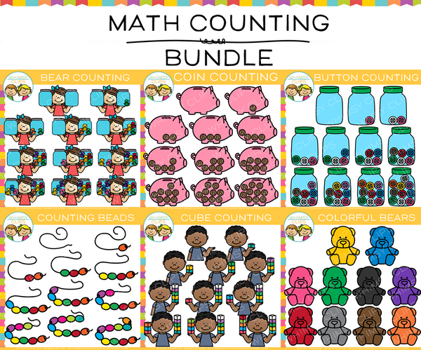 Collection of Math Counting Clip Art Bundle