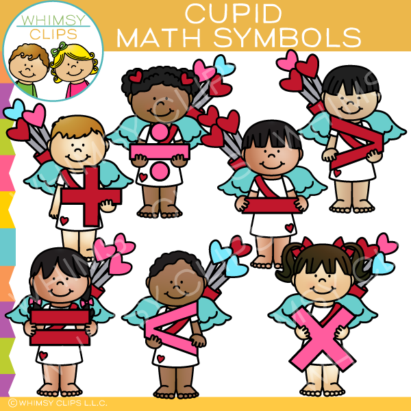 Cute Cupid Math Symbols Clip Art