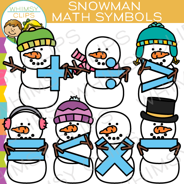 Cute Snowman Math Symbols Clip Art