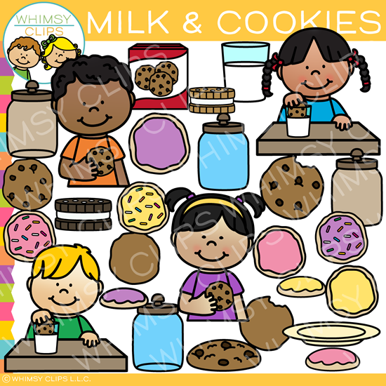 Kids Milk and Cookies Clip Art