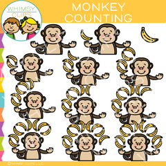 Monkey Counting Clip Art