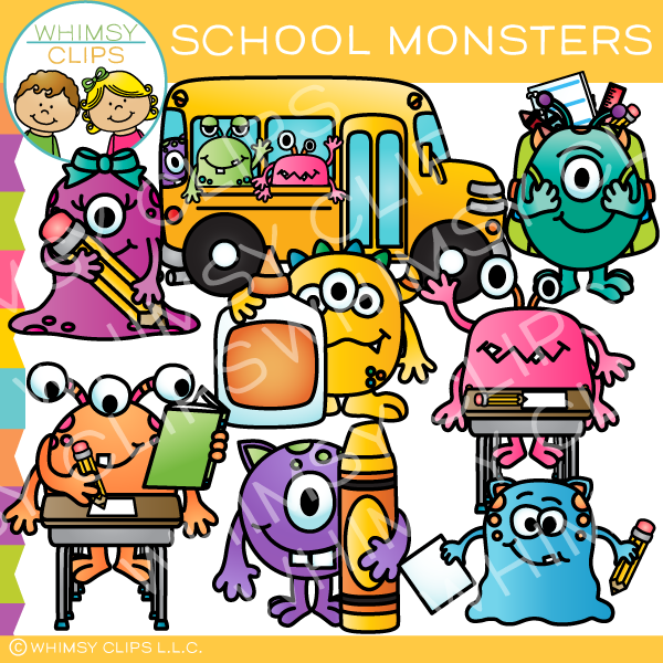 School Monsters Clip Art
