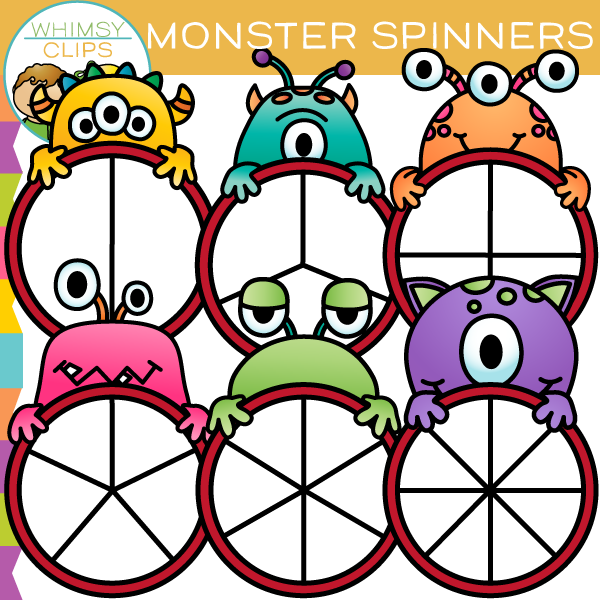 Fun and Colorful Monster Spinners Clip Art