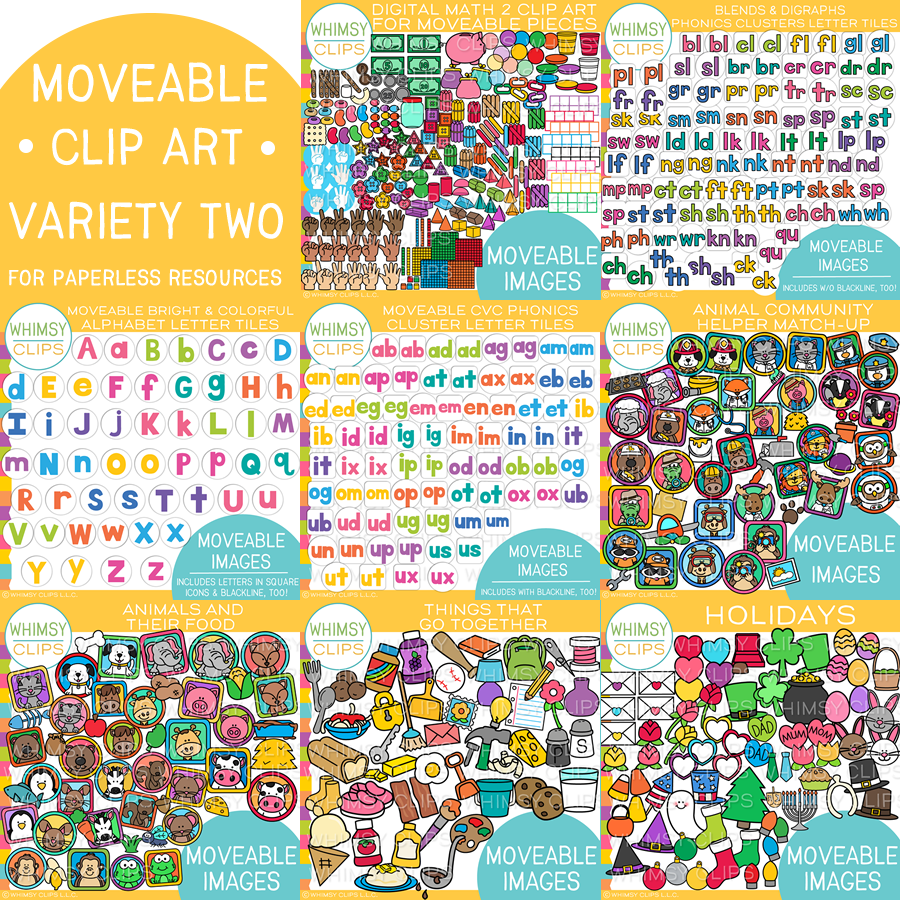 Moveable Clip Art Bundle TWO for Paperless Resources