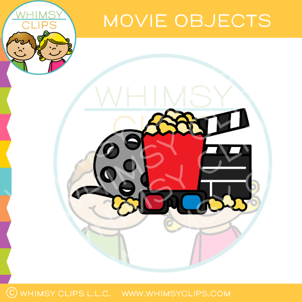 Movie,Popcorn,Glasses, And Reel Clip Art