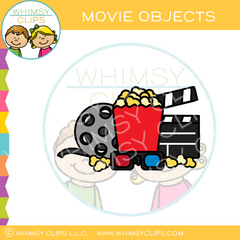 Movie, Popcorn, Glasses, And Reel Clip Art