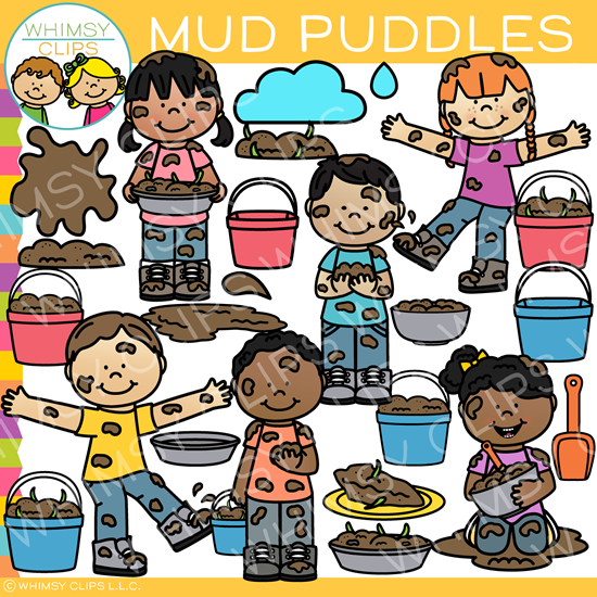 Kids Playing in Mud Clip Art