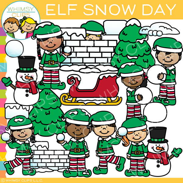 Elf Snow Day Clip Art