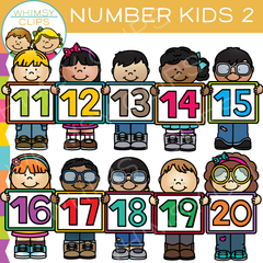 11 to 20 Number Kids Clip Art