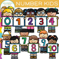 Number Kids Clip Art Bundle