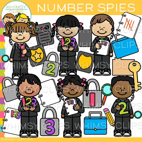 Kids Number Spies Clip Art