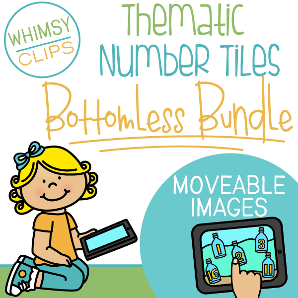 Thematic Number Tiles Clip Art- BOTTOMLESS BUNDLE - Moveable Clip Art