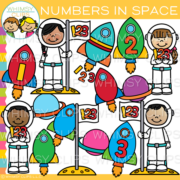 Numbers in Space Clip Art