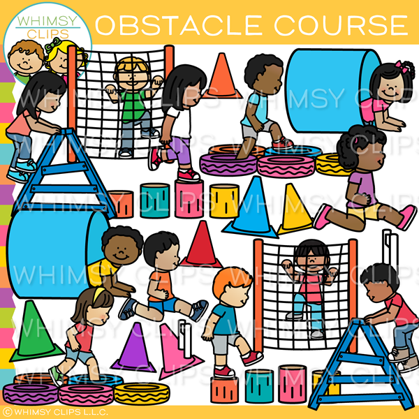 Kids Obstacle Course Clip Art