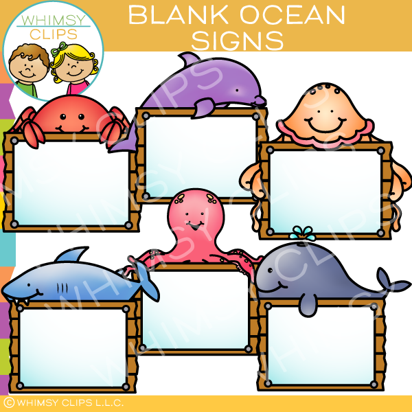 Ocean Animal Signs Clip Art