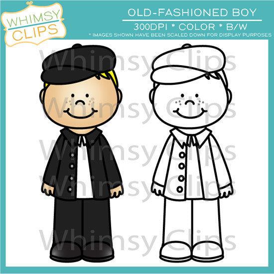 Old-Fashioned Boy Clip Art , Images & Illustrations | Whimsy Clips