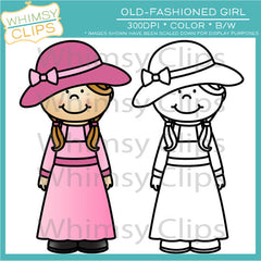 Old-Fashioned Girl Clip Art