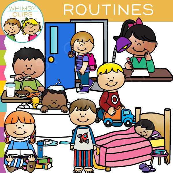 kids routines clip art images illustrations whimsy clips rh whimsyclips com daily routine clipart spanish daily routine clipart black and white