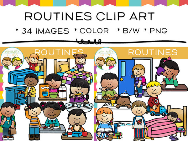 Kids Routines Clip Art