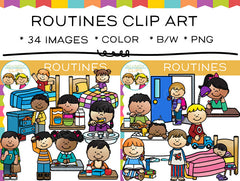 Kids Daily Routine Clip Art