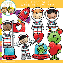 Outer Space Valentine's Day Clip Art