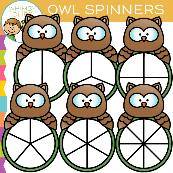 Cute Owl Spinners Clip Art