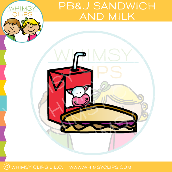 Peanut Butter and Jelly Sandwich and Milk Clip Art