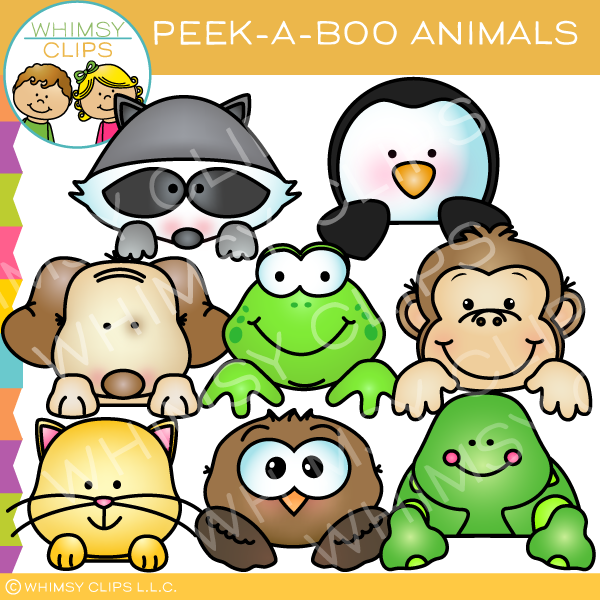 Peek-a-Boo Animals Clip Art
