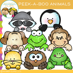 Peek-a-Boo Animal Toppers Clip Art