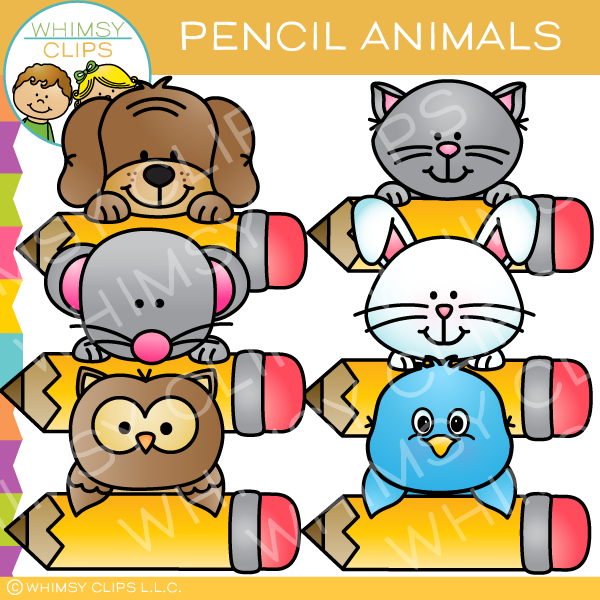 Cute Pencil Animals Clip Art