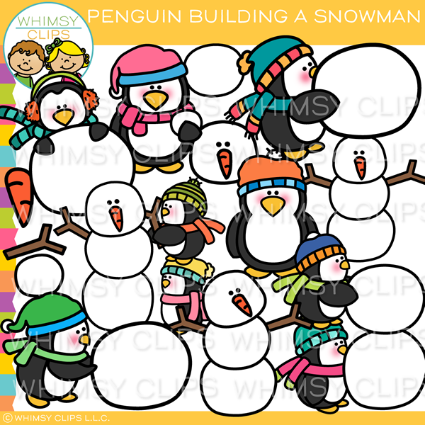 Penguin Building Snowman Clip Art
