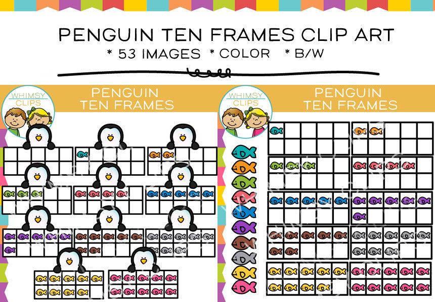 Penguin Ten Frames Clip Art