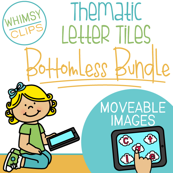 Thematic Letter Tiles Clip Art- BOTTOMLESS BUNDLE - Moveable Clip Art