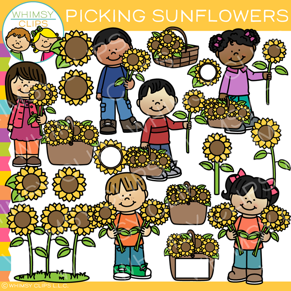 Picking Sunflowers Clip Art