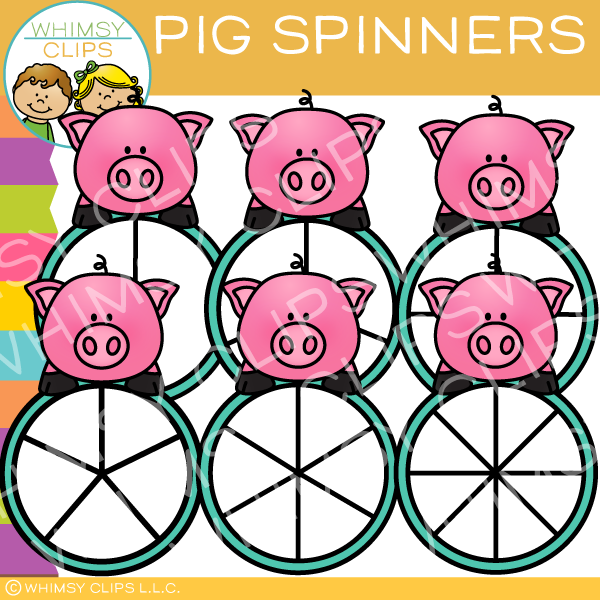 Cute Pig Spinners Clip Art