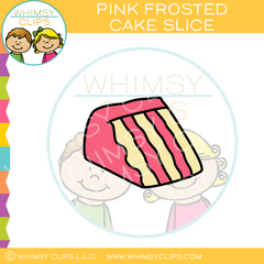 Pink Frosted Cake Slice Clip Art