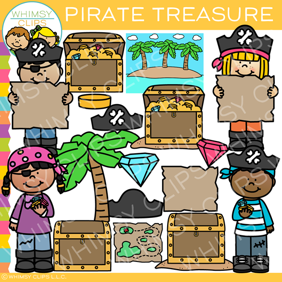 Kids in Search of Pirate Treasure Clip Art