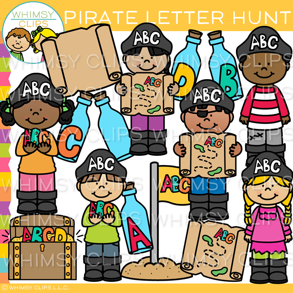 Pirates Hunt for Letters Clip Art