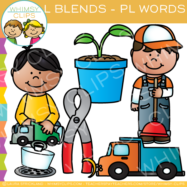 L Blends Clip Art - PL Words - Volume One