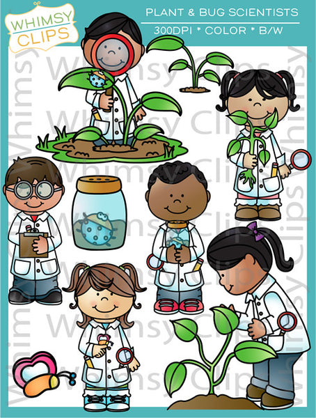 Plant and Bug Scientists Clip Art
