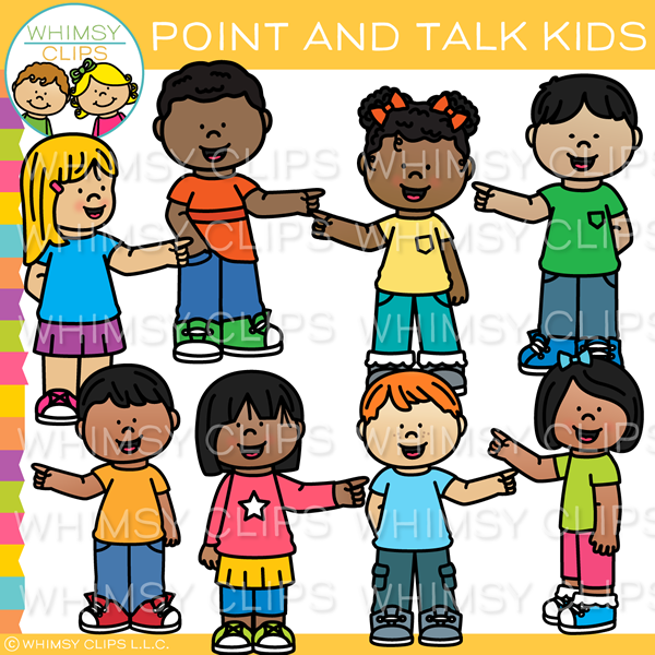 Kids Pointing and Talking Clip Art