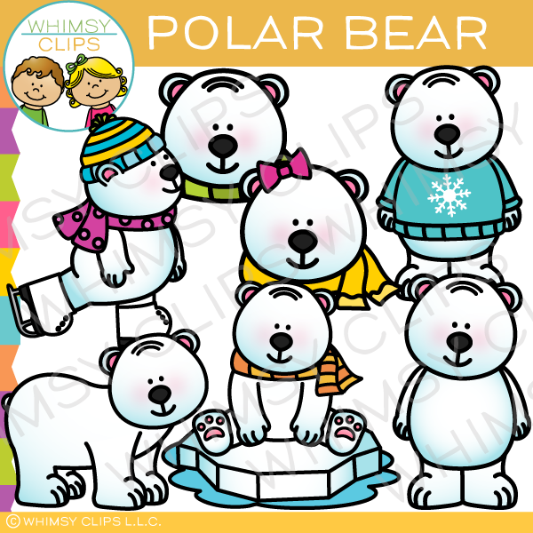Polar Bear in the Winter Clip Art