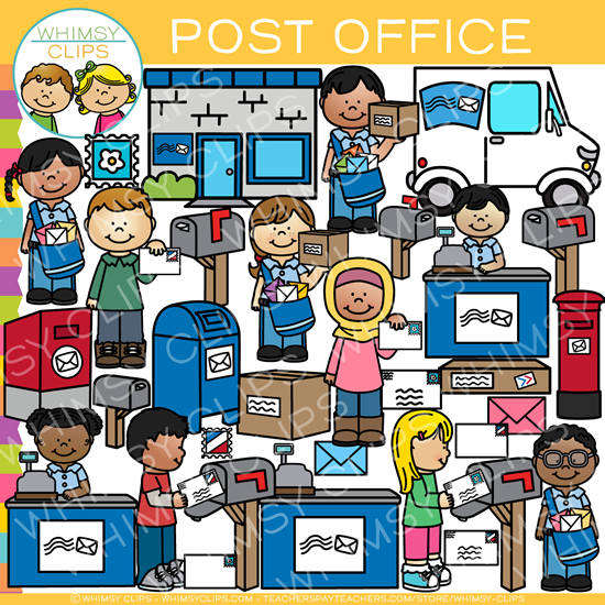 Kids at the Post Office Clip Art
