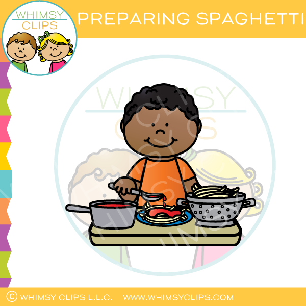 Preparing Spaghetti Clip Art