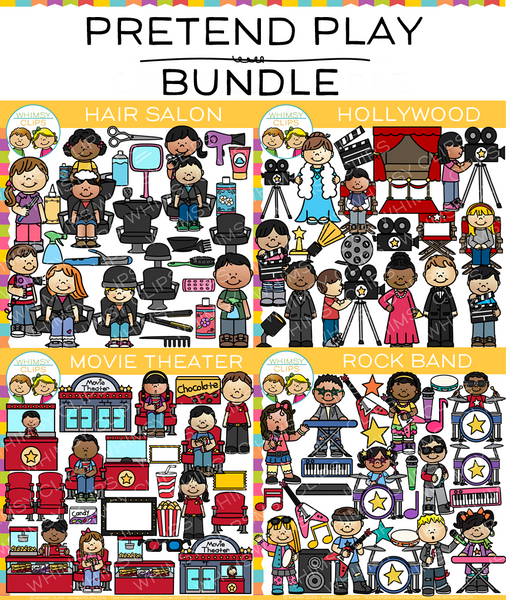Kids Pretend Play Clip Art Bundle