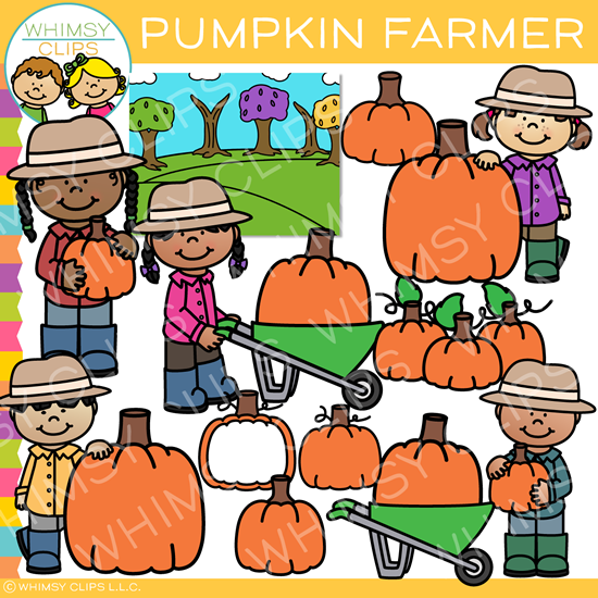 Kids Pumpkin Farmer Clip Art